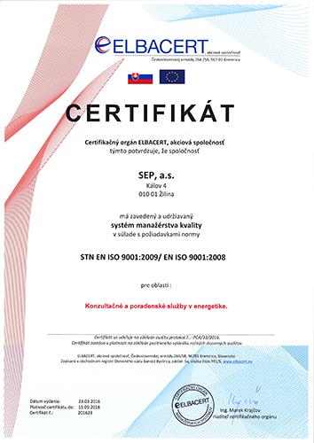 SEP certificate ISO 9001:9008